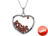 Floating January Birthstones Simulated Garnet Heart Shape Sterling Silver Glass Pendant style: JJ1001GA