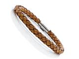 Tan Braided Leather Bracelet With Magnetic Stainless Steel Clasp style: JK20801BG