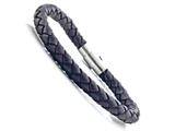 Brown Braided Leather Bracelet With Magnetic Stainless Steel Clasp