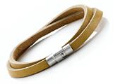Tan Leather Double Wrap Bracelet With Magnetic Stainless Steel Clasp style: JK20825BG