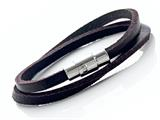 Brown Leather Double Wrap Bracelet With Magnetic Stainless Steel Clasp