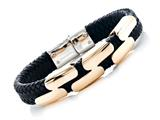 Black Braided Leather Bracelet Stainless Steel Clasps And Magnetic Clasp style: JK68007BL