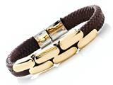 Brown Braided Leather Bracelet Stainless Steel Clasps And Magnetic Clasp style: JK68007BR