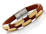 Orange Braided Leather Bracelet Stainless Steel Clasps And Magnetic Clasp