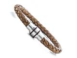 Bronze Braided Leather Bracelet With Magnetic Stainless Steel Clasp style: JK68022NZ