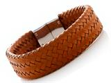 Orange Braided Leather Bracelet With Magnetic Stainless Steel Clasp