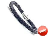 Brown Braided Leather Bracelet With Magnetic Stainless Steel Clasp style: JK20801BR