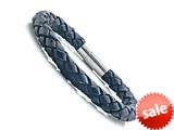 Black Braided Leather Bracelet With Magnetic Stainless Steel Clasp