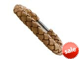 Tan Braided Leather Bracelet With Magnetic Stainless Steel Clasp