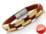 Orange Braided Leather Bracelet Stainless Steel Clasps And Magnetic Clasp style: JK68007OR