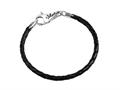 SilveRado LC002-19 Leather Black 3.0mm 7.5 inches Pandora Compatible Bead Bracelet