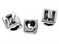 SilveRado™ MS037 Sterling Silver I Love You Cube Bead / Charm