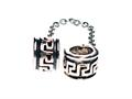 SilveRado™ MS476 Sterling Silver Greek Key Safety Chain Bead / Charm