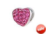 SilveRado™ BM004-2 Bling Heart Bling Pink Bead / Charm style: BM004-2