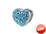 SilveRado™ BM004-3 Bling Heart Bling Blue Pandora Compatible Bead / Charm style: BM004-3