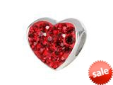 SilveRado™ BM004-6 Bling Heart Bling Red Bead / Charm