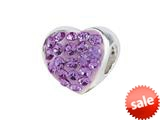 SilveRado™ BM004-7 Bling Heart Bling Purple Bead / Charm