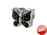 SilveRado™ BM016-0 Bling Butterfly Bling Black Pandora Compatible Bead / Charm style: BM016-0