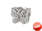 SilveRado™ BM016-1 Bling Butterfly Bling White Bead / Charm style: BM016-1