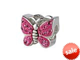SilveRado™ BM016-2 Bling Butterfly Bling Pink Bead / Charm style: BM016-2