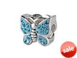 SilveRado™ BM016-3 Bling Butterfly Bling Blue Bead / Charm style: BM016-3