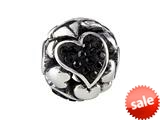 SilveRado™ BM022-0 Bling Focal-Love Hearts Black Pandora Compatible Bead / Charm style: BM022-0
