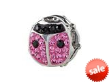 SilveRado™ BM033-2-0 Bling Lady Bird Pink Pandora Compatible Bead / Charm style: BM033-2-0