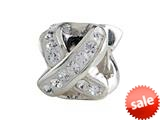 SilveRado™ BM034-1 Bling Ribbon White Pandora Compatible Bead / Charm style: BM034-1