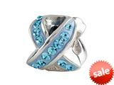 SilveRado™ BM034-3 Bling Ribbon Blue Pandora Compatible Bead / Charm style: BM034-3
