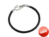 SilveRado™ LC002-20 Leather Black 3.0mm 7.9 Inches Pandora Compatible Bead Bracelet style: LC002-20