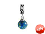 SilveRado™ MMD007 Murano Glass Dangle Ball Ocean Blue Bead / Charm