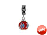 SilveRado™ MMD015 Murano Glass Dangle Ball Fire Lilly Bead / Charm