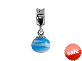 SilveRado™ MMD023 Murano Glass Dangle Ball Blue Swirl Bead / Charm