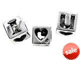 SilveRado™ MS037 Sterling Silver I Love You Cube Bead / Charm style: MS037