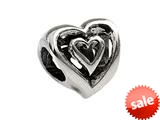 SilveRado™ MS039 Sterling Silver Double Heart Bead / Charm style: MS039