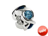 SilveRado™ Sterling Silver Simulated Blue Topaz Bead / Charm style: MS050-5BT