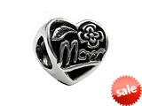 SilveRado™ MS119 Sterling Silver Mom`s Heart Bead / Charm