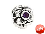 SilveRado™  Sterling Silver Three Flowers Simulated Amethyst February Bead / Charm style: MS155B-AM3