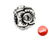 SilveRado™ MS155D-CZ3 Sterling Silver Three Flowers Cubic Zirconia April Bead / Charm style: MS155D-CZ3