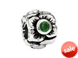 SilveRado™ MS155E-EM3 Sterling Silver Three Flowers Emerald May Bead / Charm style: MS155E-EM3