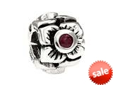 SilveRado™ MS155G-RB3 Sterling Silver Three Flowers Ruby July Bead / Charm style: MS155G-RB3