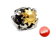 SilveRado™ MS263T Sterling Silver/Gold Sun, Moon, Star Bead / Charm