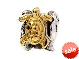 SilveRado™ MS276T Sterling Silver/Gold Turtle, Seal and Ray  Bead / Charm style: MS276T