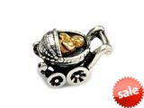 SilveRado™ MS313T Sterling Silver/Gold Baby Carriage Bead / Charm