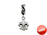 SilveRado™ MUS008 Sterling Silver Dangle Fleur De Lys Bead / Charm
