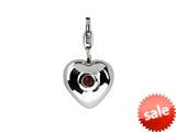 SilveRado™  Verado Sterling Silver Heart Simulatted Garnet Jan Pandora Compatible Click-on Bead / Charm style: VR004A-GA2