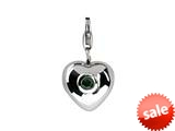 SilveRado™ Verado Sterling Silver Heart Simulated Emerald Click-on Bead / Charm style: VR004E-EM3