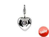 SilveRado™ VR004F-MS2 Verado Sterling Silver Heart Moon Stone Jun Bead / Charm style: VR004F-MS2