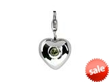 SilveRado™ Verado Sterling Silver Heart Simulated Peridot August Click-on Bead / Charm style: VR004H-PD2
