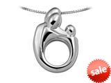 Large Sterling Silver Original Mother and Child® Family Pendant by Janel Russell style: 4940S41